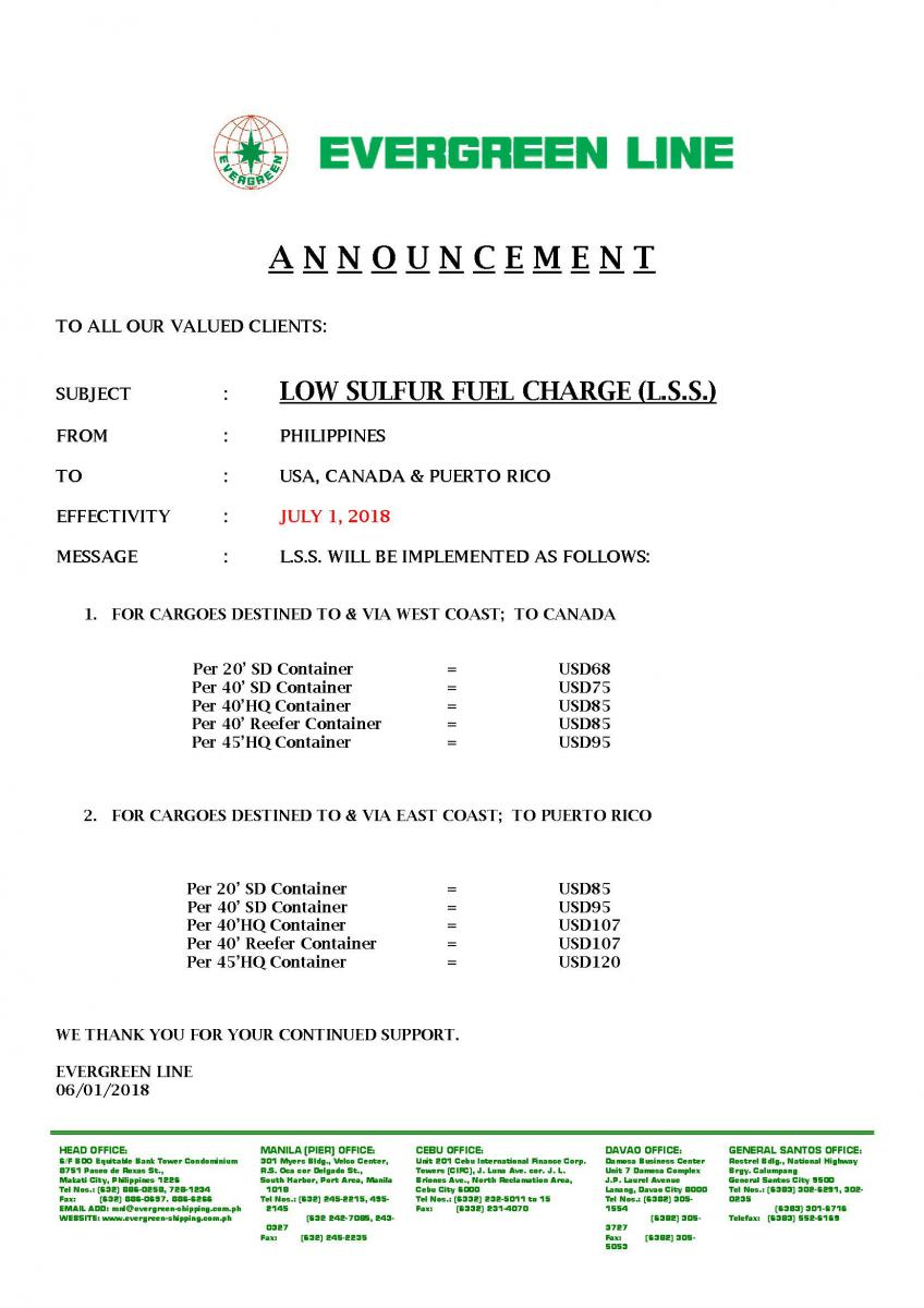 LOW SULFUR FUEL CHARGE (L S S ) Philippines to USA, Canada & Puerto