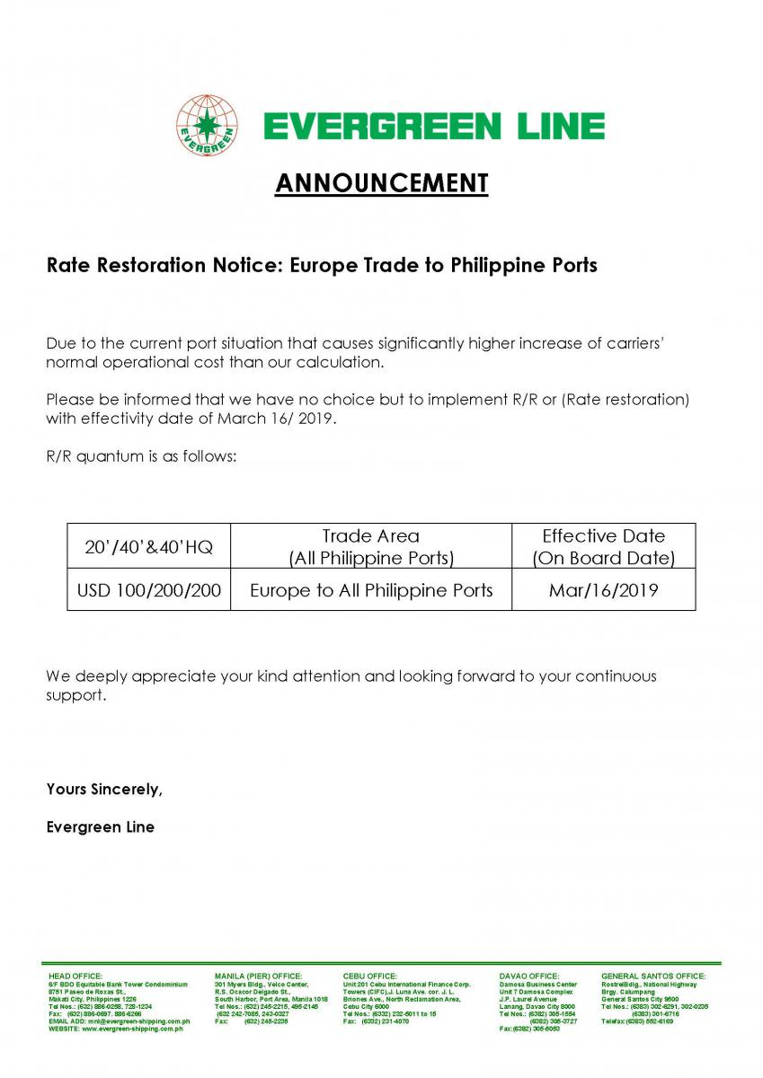 Rate Restoration Notice: Europe Trade to Philippine Ports
